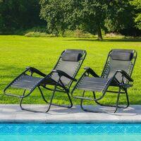 Lot de 2 Transat Jardin Pliable Noir - Bain de Soleil avec coussin rembourré et porte-gobelet amovible - Lot de 2 Chaise Longue 165 x 112 x 65, Pieds anti-dérapants - Noir