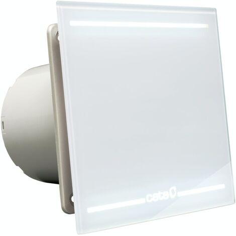 00900001 Culina E100GLT 100mm White Glass Bathroom Extractor Fan With LED Light