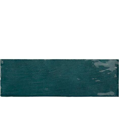 Faience nuancée effet zellige bleu canard 6.5x20 RIVIERA QUETZAL 25845- 0.5 m²