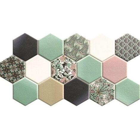 Carrelage tomette décorée style ciment pastel vert 26.5x51 cm HEX NOUVEAU GREEN - 0.95m²