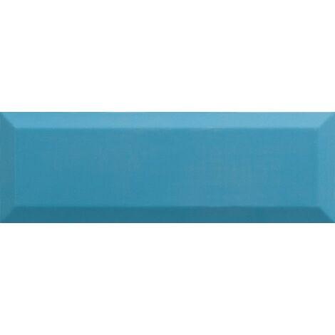 Carrelage Métro biseauté 10x30 cm teal bleu turquoise brillant - 1.02m²