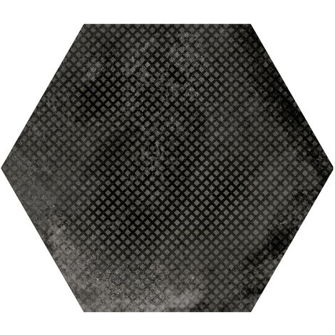 Carrelage hexagonal décor noir 29.2x25.4cm URBAN HEXAGON MÉLANGE DARK 23604 R9 - 1m²
