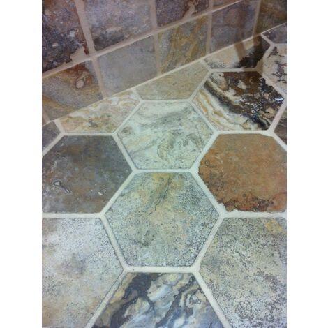 Sol travertin hexagonal 15x15 mix beige noce gris - 1m²