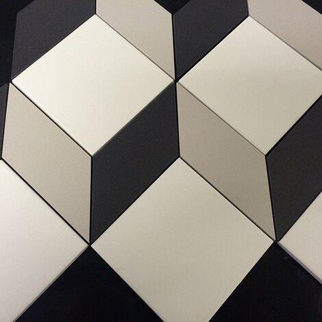 Carrelage cube géométrique pleine masse sur trame CUBO - 0.66m²