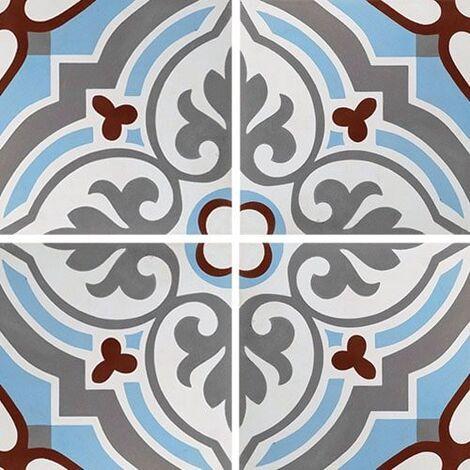 Carreau de ciment arabesque turquoise 20x20 cm ref7670-1 - 0.48m²