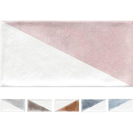 Faience murale colorée patinée triangles pastels RABARI 10x20cm - 1.36m²