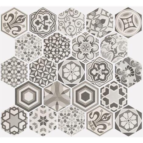 Carrelage hexagonal 17.5x20 Tomette Harmony B&W 0.71m²