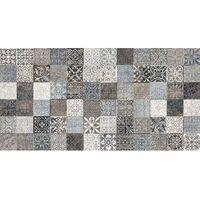 Faience style ciment mosaique gris décoré Deco Lys Grey 32x62.5 cm - 1m²