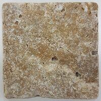 Carrelage pierre TRAVERTIN TR-TAS SCABOS beige noce 10x10CM - 1er choix- 0.5m²