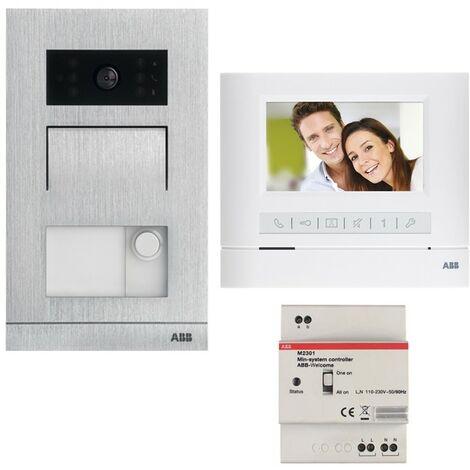 Kit de vidéophone couleur Abb avec moniteur mains-libres 2 fils