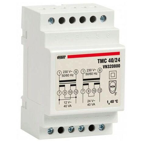 Transformateur modulaire Vemer TMC 40VA 230/12/24V 3 Modules VN320800