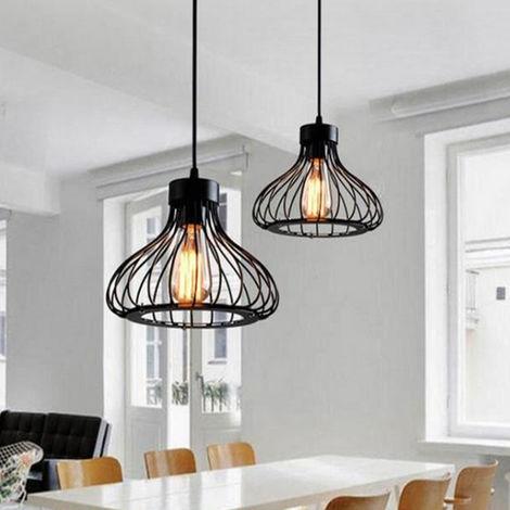 Suspension vintage E27 noir éclairage plafond rétro design industrie plafonnier