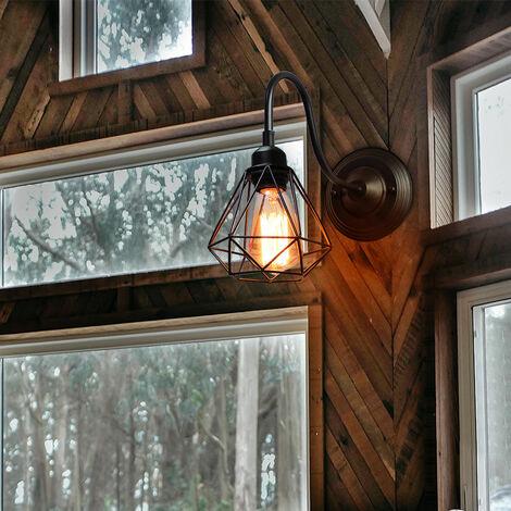 Lot de 2 Applique Murale Intérieur Vintage Industrielle Luminaire Eclairage Noir Cage Diamant en Métal Noir