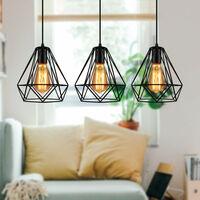 Lustre Suspension Cage Forme Diamant Contemporain Plafonnier Lampe Noir