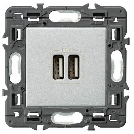 Cargador USB 2 usb tipo A Legrand 741331 serie Valena Next color Aluminio