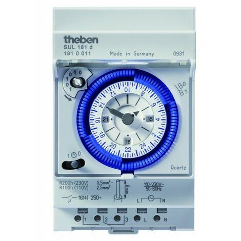 Interruptor horario analogico THEBEN SUL181d carril din 1810011 con reserva 200 horas