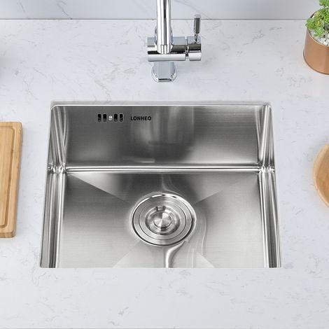 Lonheo Lavandino Cucina 1 Vasca In Acciaio Inox 304 Con Filtro E Connettore Per Lavastoviglie Lavello