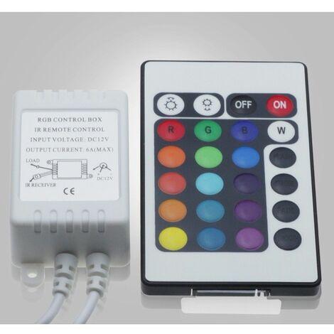 Controlador Tira LED RGB, Dimmer por Control Remoto IR 24 Botones