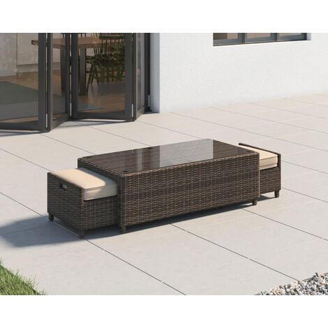 Ascot Rattan Garden Coffee Table with 2 Footstools in Premium Truffle Brown and Champagne
