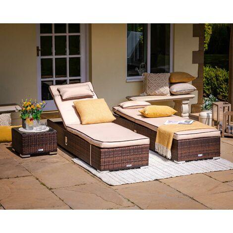 Miami Rattan Garden Sun Lounger Set in Chocolate & Cream