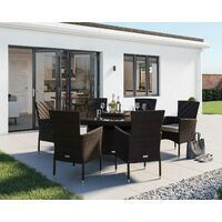 Cambridge 6 Rattan Garden Chairs and Large Round Dining Table Set in Chocolate and Cream