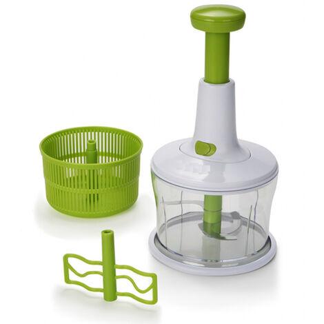 Picadora de verduras y hortalizas de mango y pulsador - 3 en 1