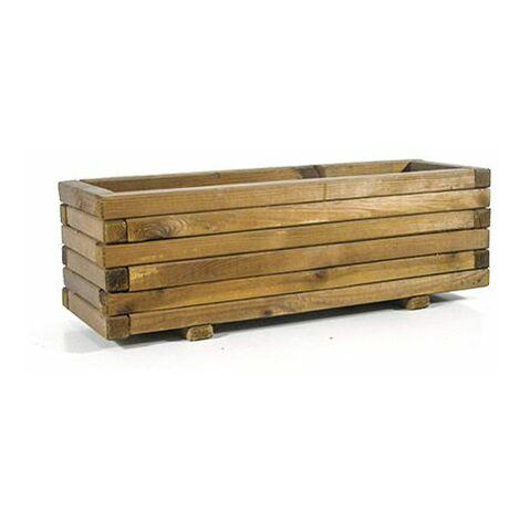 Jardinera de madera tratada, rectangular recta 60x20x22 cm