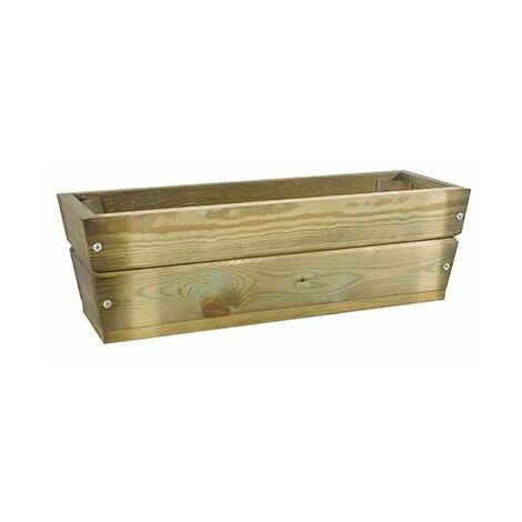 Jardinera de madera tratada, trapecio rectangular recta 60x20x19 cm