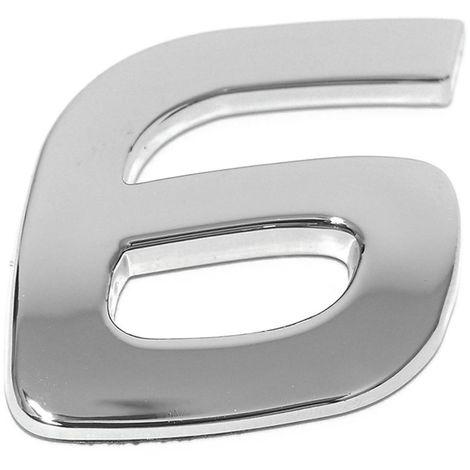 Chiffre ''6'' 3d Autocollant Chromé Eufab