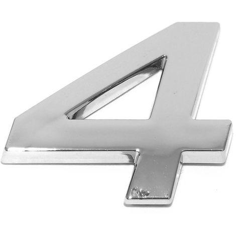 Chiffre ''4'' 3d Autocollant Chromé Eufab