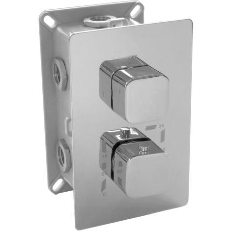 Hochwertige Thermostat-Unterputz-Duscharmatur UP12-02 mit 3 Wege-Umsteller - quadratische Griffe