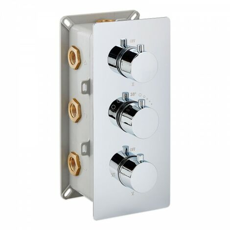 Edle Thermostat-Unterputz-Duscharmatur UP11-01 mit 6 Wege-Umsteller - runde Griffe