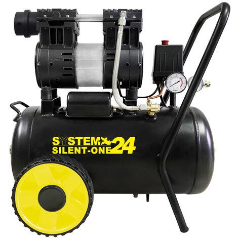 compressore a secco super silenziato 65 db da 24 litri system +