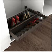 porta scarpe estraibile per interno armadio 600 mm chiusura soft acciaio color moka - emuca.