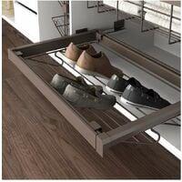 kit porta scarpe metallico regolabile 600 mm acciaio e alluminio color moka - emuca.