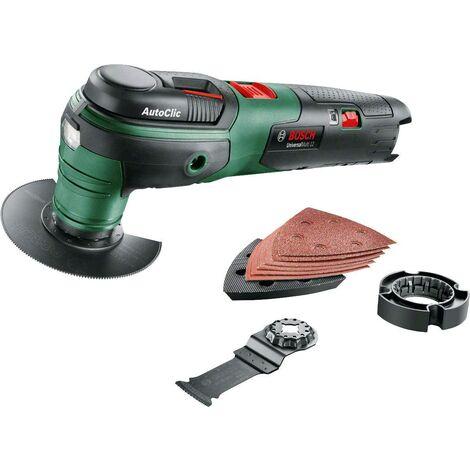 Bosch Outil multifonction sans-fil UniversalMulti 12 - Livré sans batterie ni chargeur, avec set d'accessoires,