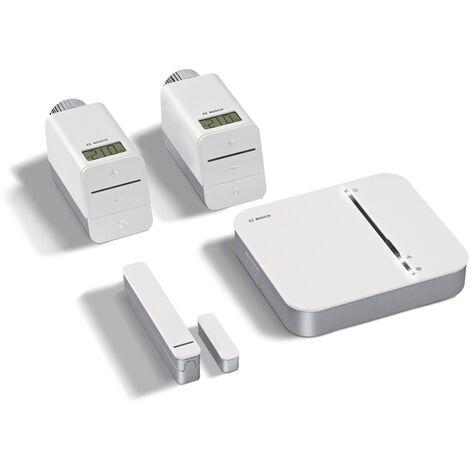 Bosch Smart Home Kit de démarrage Confort Climatique - centrale domotique avec 2 thermostats radiateurs connectées pour chauffage et 1 détecteur d'ouverture