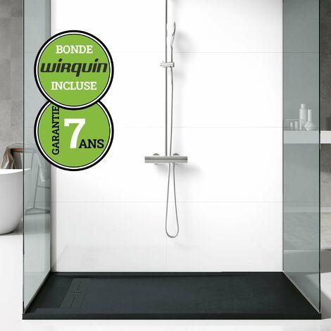 Receveur de douche extra-plat - Noir Anthracite - 70x100 cm   Collection G I antiderapant et pose rapide  - Gris & Noir