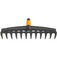 Fiskars Râteau universel à 12 dents, Tête d'outil QuikFit, Largeur: 41 cm, Plastique renforcé de fibre de verre, Noir/Orange, QuikFit, 1000643