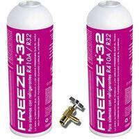 2 Botellas Gas Ecologico Refrigerante Freeze Organico +32 350Gr + Valvula Sustituto R32, R410A