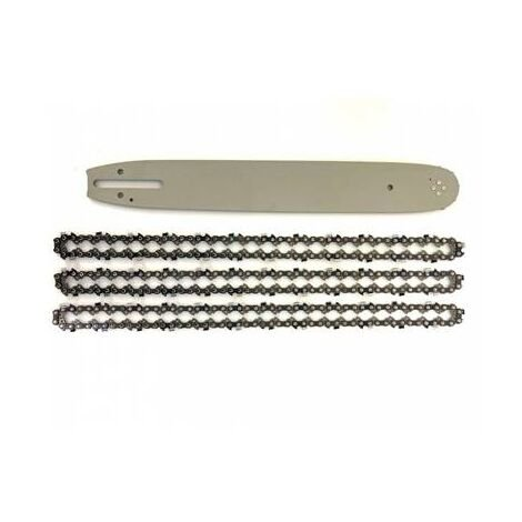 Guide pour Stihl 45cm + 3 Chaînes de tronçonneuse - 74 Entraineurs - Pas 325 - Jauge 0.63 (1.6mm)