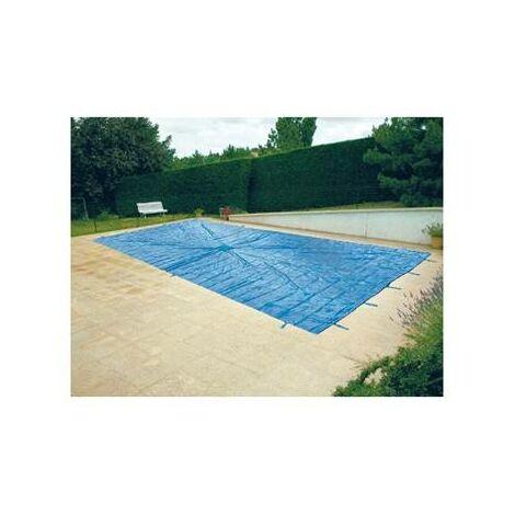 Bache de protection pour piscine enterrée 5x8 metres avec filet d'ecoulement