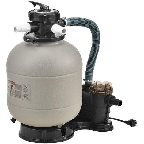 Pompe Filtre à Sable pour Piscines 18-30 m³ 400 W avec Manomètre Entretien Nettoyage avec Vanne 5 Voies Débit de Filtration 12.000 l/h Plastique Cuivre Diamètre 40 cm Beige