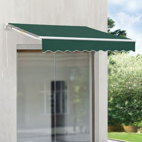 Store Banne Rétractable Manuel Marquise à Bras Articulé avec Manivelle Montage Mural Inclinaison Réglable Aluminium Polyester 350 x 250 cm Vert Foncé
