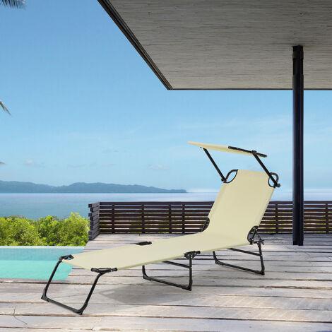 Bain de Soleil Transat Chaise Longue Pliable avec Pare-soleil Acier PVC Polyester Crème 187 x 53 x 27 cm