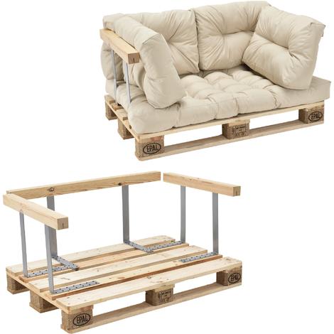 Canapé d'angle en palettes Coussin Beige 2-Places avec Palettes Rembourrage Appui
