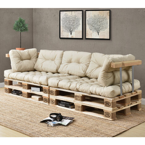 Canapé d'angle en palettes Coussin Beige 3-Places avec Palettes Rembourrage Appui