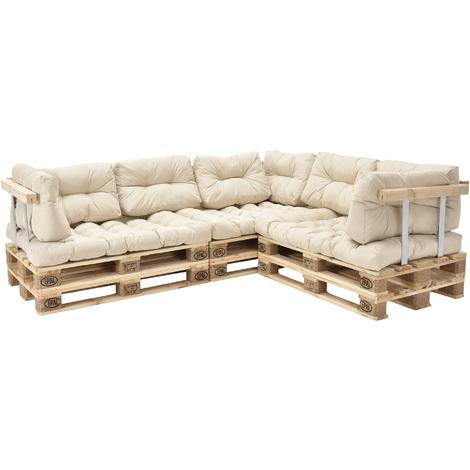 Canapé d'angle en palettes Coussin Beige Canapé d'angle avec Palettes Rembourrage Appui - Modèle 2