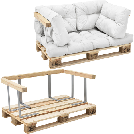 Canapé d'angle en palettes Coussin Blanc 2-Places avec Palettes Rembourrage Appui