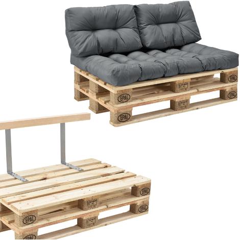 Canapé d'angle en palettes Coussin Gris 2-Places avec Palettes Rembourrage Appui